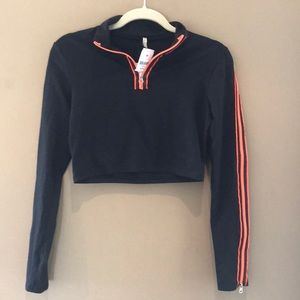 NWT LF black crop top with orange zippers